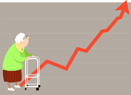poverty: Elderly woman with a walker looking at a steeply rising graph, could represent a rising cost of health insurance, housing etc.