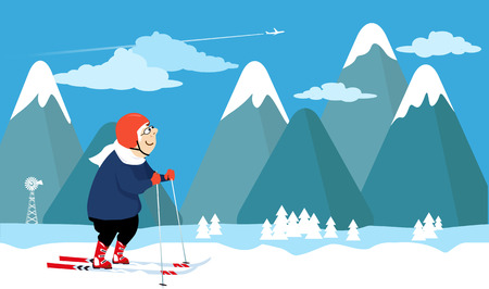 women working out: Elderly lady skiing with a mountain landscape on the background