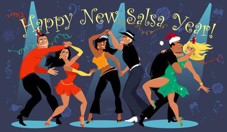 Mensen dansen op de New Year's Eve salsa dansfeest Stock Illustratie
