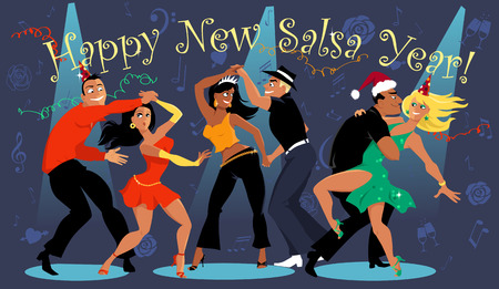 People dancing at the New Years eve salsa dance party Illustration