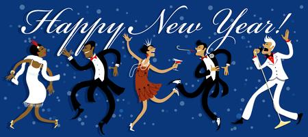 socializando: dibujos animados divertidos personas bailando el charlestón, la celebración de Año Nuevo en una fiesta estilo Gatsby