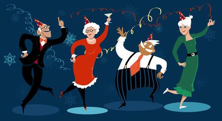 social gathering: Group of active seniors dancing at a winter holidays party