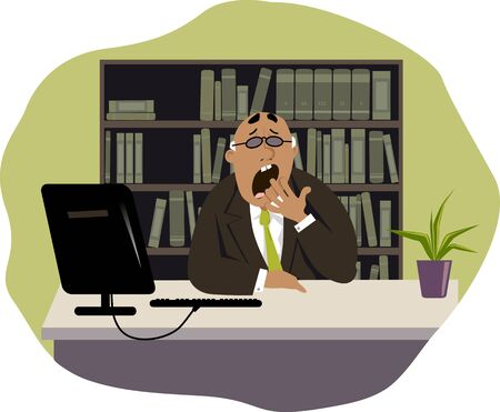 middle aged man: Yawning man sitting at his desk in the office