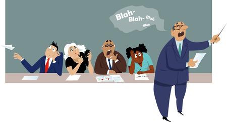 dipendenti distratti e annoiati seduti a una presentazione aziendale Vettoriali