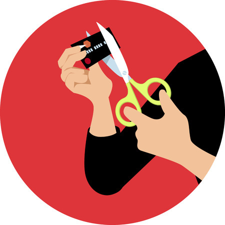 Hands of a person cutting a credit card in half with a scissors on a circle background, vector illustration