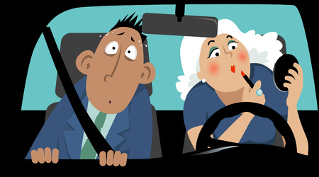 terrified: Terrified passenger sitting in car next to a female driver who is applying make-up Illustration