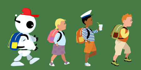 science education: Cute robot going to school together with little kids Illustration