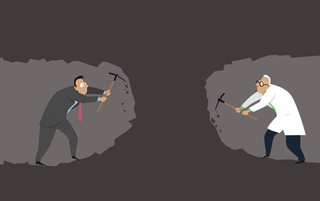 A businessman ans a scientist digging a tunnel towards each other as a metaphor for need for collaboration