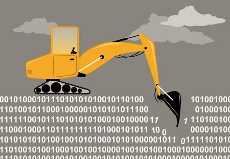 An excavator digging through a binary code as a metaphor for data mining