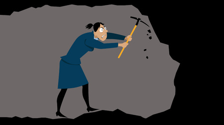 Angry businesswoman with a pickaxe digging a tunnel underground