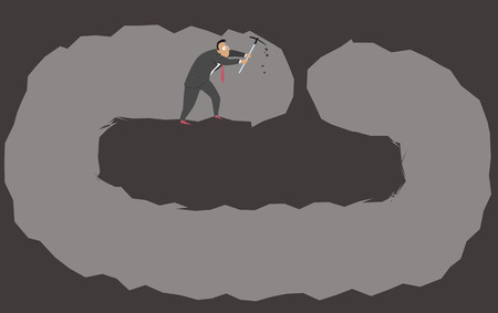 Businessman digging a tunnel that ends at its beginning as a metaphor for a poor planning, EPS 8 vector illustration