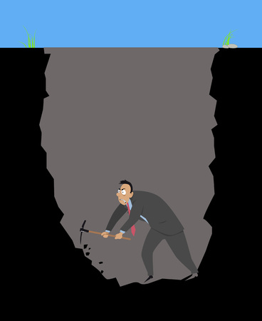 Businessman with a pickaxes digging himself into a hole Ilustração
