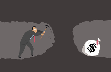 Businessman with a pickaxes digging a tunnel to a cave with a big money bag Ilustrace