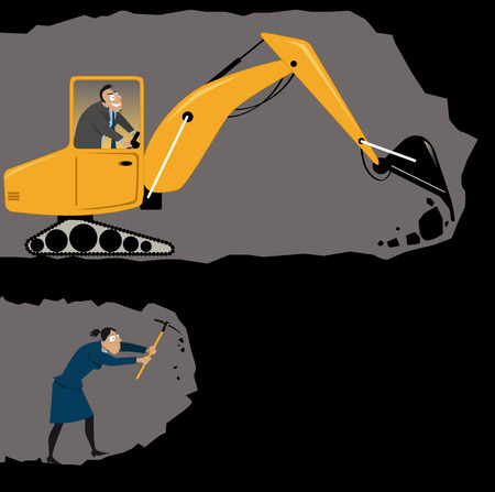 glass ceiling: Businesswoman digging a tunnel with a pickaxe while her male co-worker using an excavator