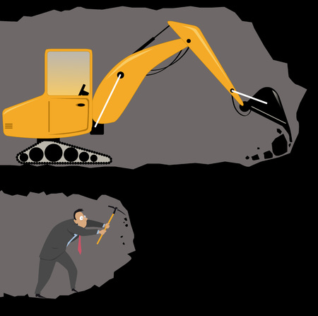 Businessman with a pickax digging a tunnel, racing with an excavator