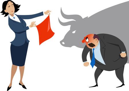 acoso laboral: Negocios que muestra un pañuelo rojo a un hombre de negocios enfurecido, una sombra de un toro en el fondo