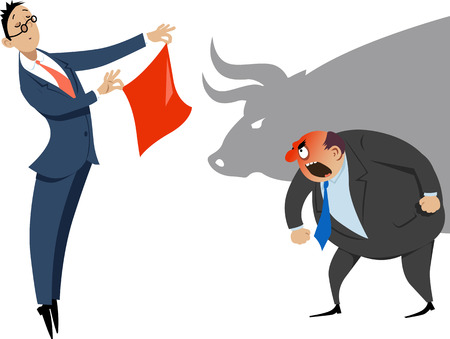 激怒した同僚、背景には牛の影に赤いハンカチを示す実業家