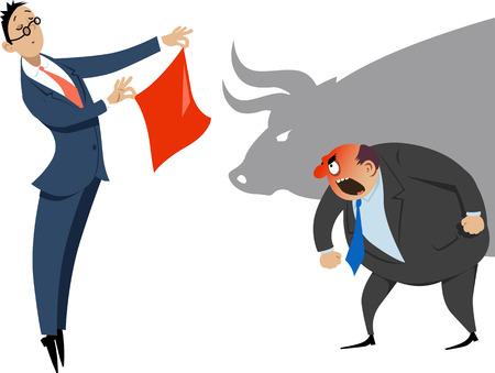 Homme d'affaires montrant un mouchoir rouge à un collègue en colère, l'ombre d'un taureau sur l'arrière-plan