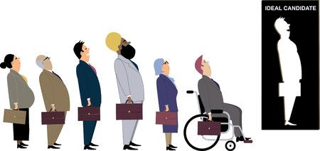 Línea de diversos candidatos para un puesto de trabajo de pie detrás de un recorte como una metáfora de una discriminación durante una entrevista de empleo