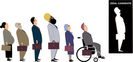 Line of diverse candidates for a job standing behind a cutout as a metaphor for a discrimination during an employment interview Illustration