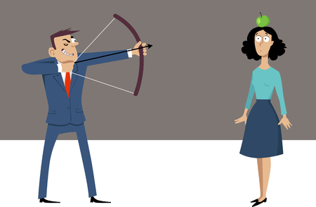 Misogynistic businessman with a bow and arrow aiming at a woman who is holding an apple on her head
