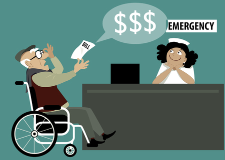 medical bills: Elderly patient in a wheelchair chocked by a high hospital bill, emergency room reception on the background