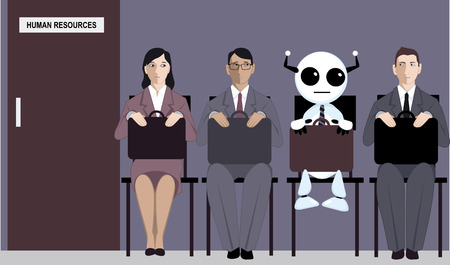 Cartoon robot sitting in line with applicants for a job in front of a human resources office