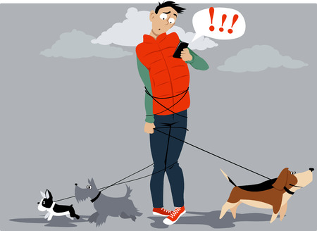Man, tangled in multiple dog leashes, texting for help of a dog walker