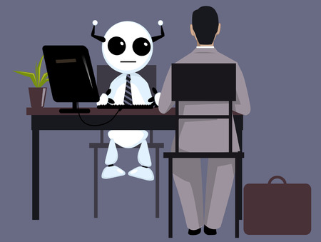 Candidate having a job interview with a robot HR manager