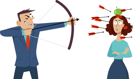 correctness: Smug businessman shooting arrows at the angry woman with an apple on her head