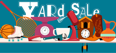 Yard sale banner with assorted household and sport items lying on a table