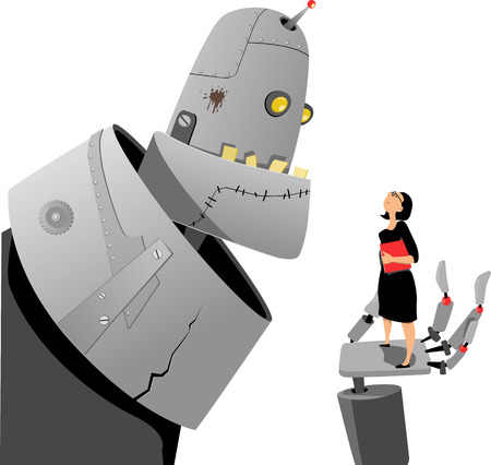 Giant robot talking to a woman, standing in the palm on his hand Illustration