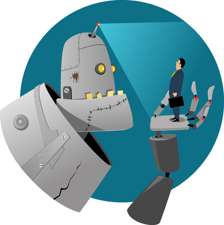 Giant robot examining a businessman standing in the palm of his hand