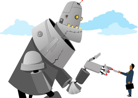 Businessman shaking hands with a giant robot Stock Illustratie
