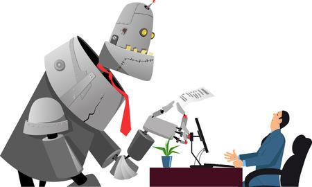Riesen-Roboter einen Lebenslauf hält, mit einem Job-Interview mit einem Personalchef Vektorgrafik