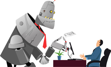 Giant robot holding a resume, having a job interview with a hiring manager