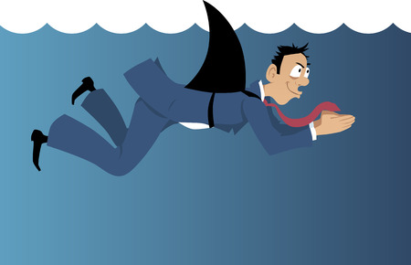 Insidious businessman with a shark fin attached to his back swimming under water Illustration