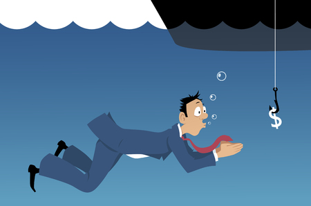corporate greed: Gullible businessman swimming under water towards a dollar sign on a fishing hook