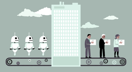 Conveyor belt moving robots into an office building, fired people moving out of it, EPS 8 vector illustration, no transparencies 向量圖像