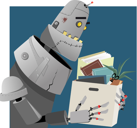 belongings: Fired robot holding a box with his office belongings, EPS 8 vector illustration Illustration