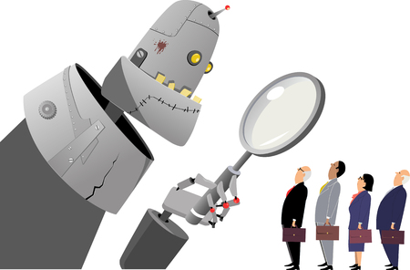 Giant robot manager examining human employees under a magnifying glass, EPS 8 vector illustration
