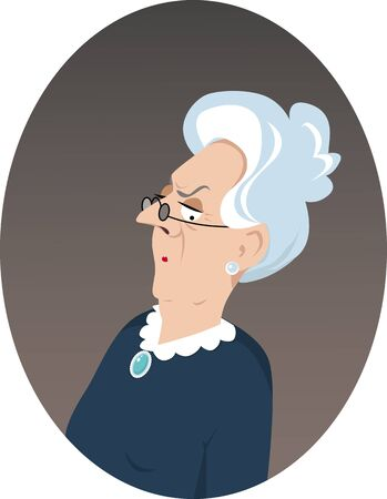 conservative: Portrait of a grumpy elderly woman in retro style clothes, EPS 8 vector illustration