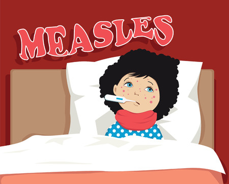 blisters: Child, sick with measles, lying in bed, covered with blisters and with a thermometer in the mouth, EPS 8 vector illustration Illustration