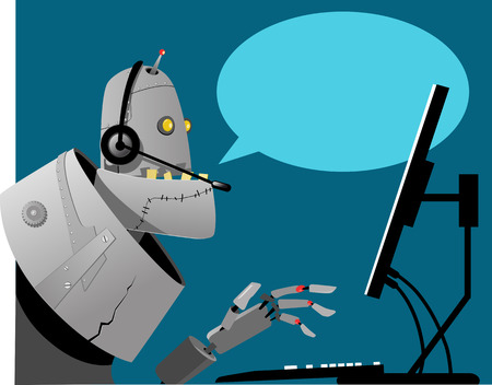 Robot working in a call center, empty speech bubble on the background, EPS 8 vector illustration, no transparencies Vettoriali