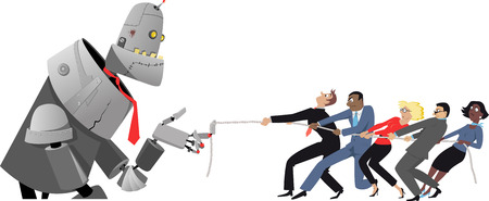 Giant robot winning tug of war with a group of humans, EPS8 vector illustration, no transparencies