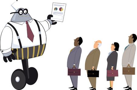 ロボット マネージャーの人間の従業員、EPS 8 ベクトル図にグラフの紙を表示しています