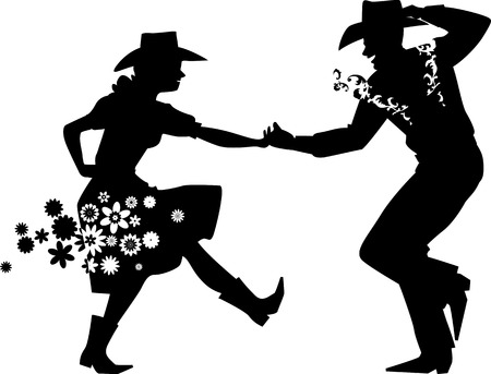 カントリー ウエスタン ダンス カップル、EPS 8 ベクトル シルエット イラスト、白いオブジェクトがありません。