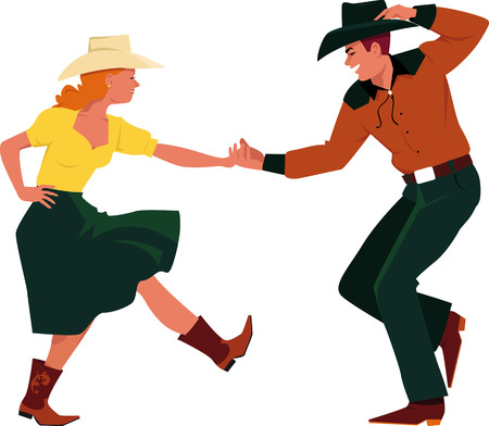 Couple dancing Country Western, front view, EPS 8 vector illustration, no transparencies