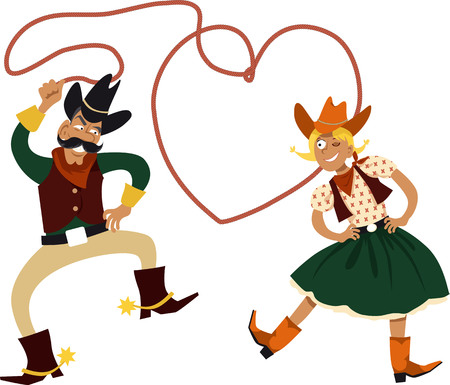 Funny cartoon cowboy and cowgirl dancing with a lasso in a shape of a heart, EPS 8 vector illustration Stock Illustratie