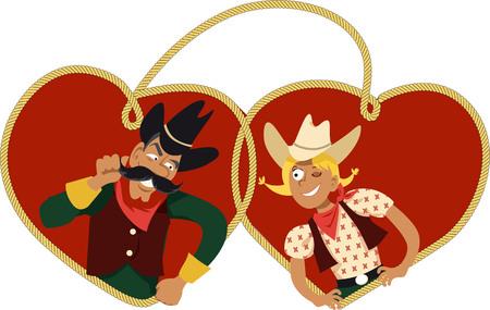 Leuke cartoon cowboy en cowgirl flirten, hart lasso gevormd op de achtergrond, EPS 8 vector illustratie